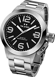 TW Steel Canteen Unisex Quartz Watch with Grey Dial Analogue Display and Grey Stainless Steel Plated Bracelet