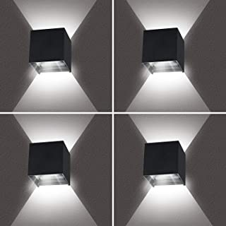 4 piezas 12W Aplique de pared LED Blanco Frio 6000K, LEDMO Lámpara de pared Interior/Exterior, 1000lm Negro lampara de pared IP65 Impermeable
