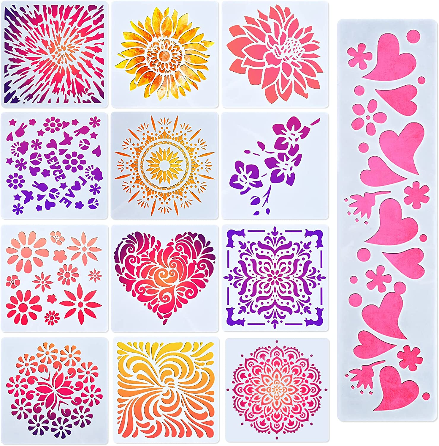 ORNOOU Boho and Flower Painting Stencil, 13 Pieces Reusable Floral Mandala Stencils for Painting on Wood Wall Fabric Canvas, Fabric Stencils Designs for DIY Art Craft Home Decoration