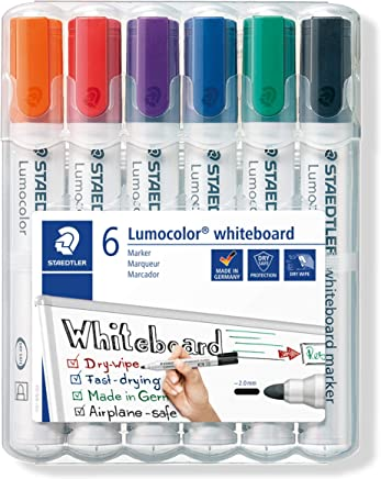STAEDTLER 351WP6 Lumocolour Whiteboard Marker with Bullet Tip, Multicolor , Pack of 6