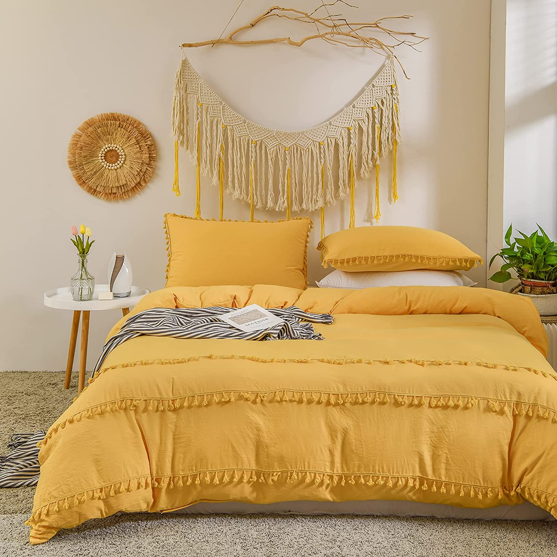 Bedbay Yellow Tassel Bedding Set Ginger Yellow Duvet Cover Set Solid Color Tufted Tassel Fringed Bedding King 1 Duvet Cover 2 Pillowcases (Yellow, King)