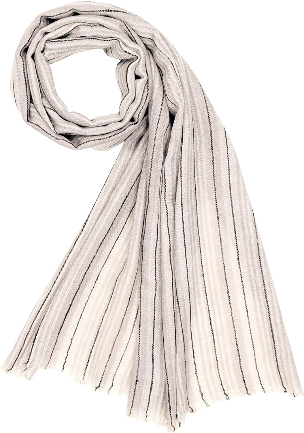 100% Handspun Cashmere Womens Mens Stripes Scarf Stole Shawl Natural Ivory Black