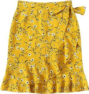 WDIRARA Women's Elegant Mid Waist Above Knee Ruffle Hem Casual Floral Skirt