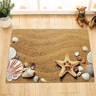 Sandy Beach Starfish Seashells Conch Bathroom Rug,Indoor Non-Slip Door Mat,Children's Bathroom Carpet,15.7X23.6 in,Bathroom Accessories