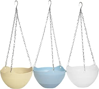Multi Colored Self-Watering Flower Pot Container, Hanging Planter with Chain, Set of 3 (Blue/Yellow/White)