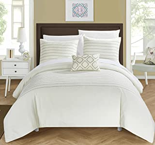 Chic Home 4 Piece Bea Embroidered Duvet Cover Set Shams and Decorative Pillow, Queen, Beige
