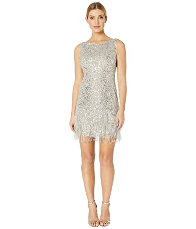 Adrianna Papell Sleeveless Fringe Beaded Cocktail Dress (Silver) Women