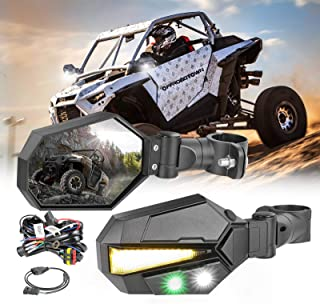 UTV Sideview Lighted Mirror Kit, OFFROADTOWN Side View Mirror for 1.75-2 Inch Roll Bar Adjustable Rear View Mirror for Polaris RZR, Side by Side, CAN-AM, Kawasaki Teryx, Yamaha Rhino and YXZ, RZR 2020