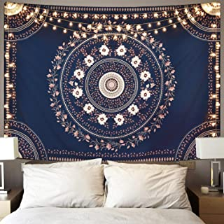 Sevenstars Bohemian Mandala Tapestry, Floral Medallion Tapestry Blue Sketched Flower Tapestry, Indian Art Print Hippie Tapestry for Room