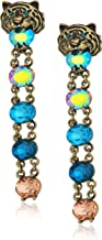 Betsey Johnson Mystic Baroque Queens Multi-Color and Gold Tiger Linear Drop Earrings