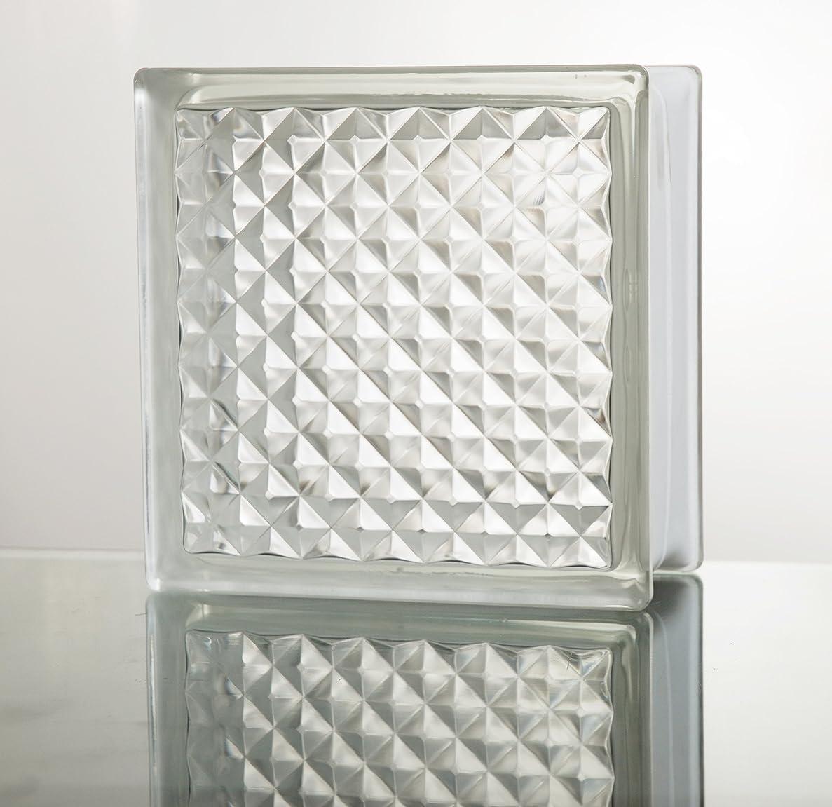 ベルトプロフェッショナルブラザーガラスブロック ◆◆◆デザイン豊富22種類◆◆◆(クリアシリーズ) 190mm角×80mm厚 (1個(サンプル), Lattice)