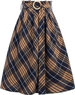 Women's Elastic Waist Vintage A-Line Pleated Flared Plaid Skirt