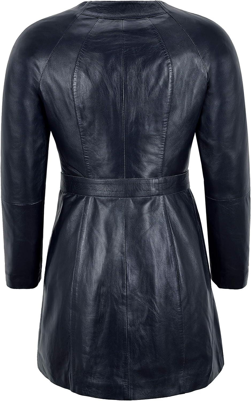 Carrie CH Hoxton Damen Eleganter Kragenloser Mantel Echtes Leder Knielange Bindegürtel Jacke B2-004 Navy Blue