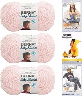 Bernat Baby Blanket Tiny 3 Pack 100 Percent Polyester Gauge Medium 4 Worsted Bundle (Hush Pink)