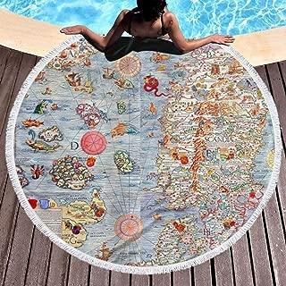 XZSASF Carta Marina Sea Monster Map 59-inch Beach Towel Blanket - Microfiber Soft Sand-Free Carpet Yoga Mat for Women and Girls for Bath/Pool/Beach