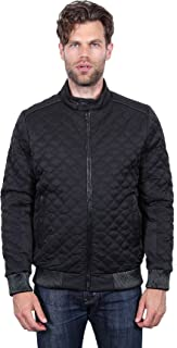 Men's Quilted Faux Leather Trim Bomber Jacket Coat