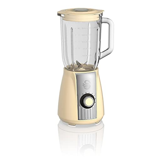 Swan SP20180CN Retro Stand Glass Jug Blender with 5 Speed Motor with Pulse and Stainless Steel Blades, 1.5 Litre, 600 W, Cream