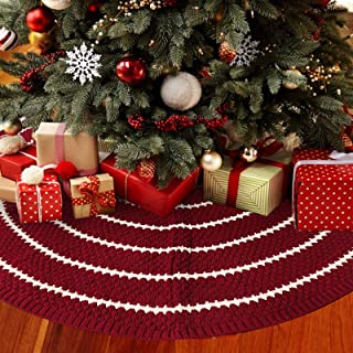 LimBridge Christmas Tree Skirt, 48 inches Knitted Rustic Stripe Thick Heavy Yarn Knit Xmas Holiday Decoration, Burgundy and Cream