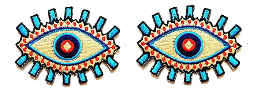 PP Patch Sexy Eye Blue Devil Evil Monster Eye Patch Eye Eyeball Iron Sew On Embroidered Patch Clothing Cartoon for adorning Your Jeans Hats Bags Jackets Shirts or Gift Set
