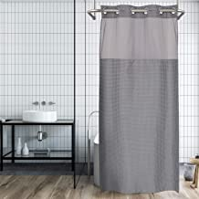 River Dream No Hooks Needed Dobby Fabric Shower Curtain with Window,Hotel Grade,Stall Size,Gray,Water Repellent,36W x 74L inch