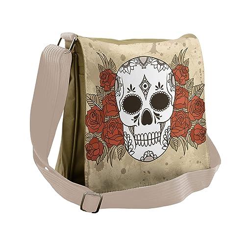 066e3ab314 Lunarable Skull Messenger Bag, Mexican Sugar Skull Roses, Unisex Cross-body