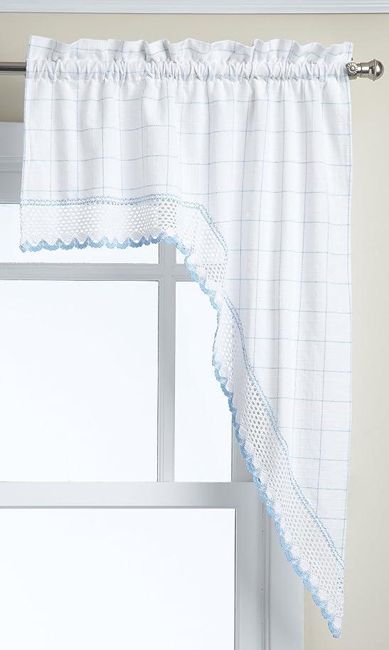 LORRAINE HOME FASHIONS Adirondack Swag, 60 by 38-Inch, White/Blue