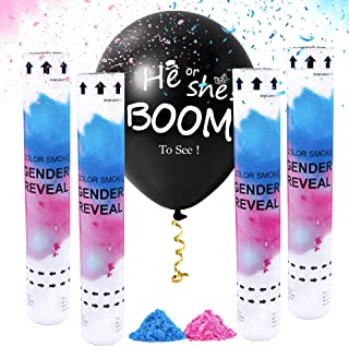 Gender Reveal Party Supply Confetti Cannons and Ballon Kit | Both Blue and Pink Powder and Confetti Mix Kit | Pack of 4 Co...
