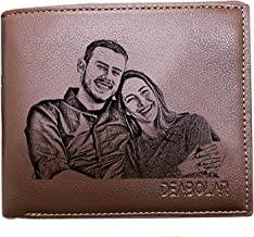 Custom Photo Wallets Men's Leather Classic Genuine Leather Trifold Personalized Wallet Money Clip