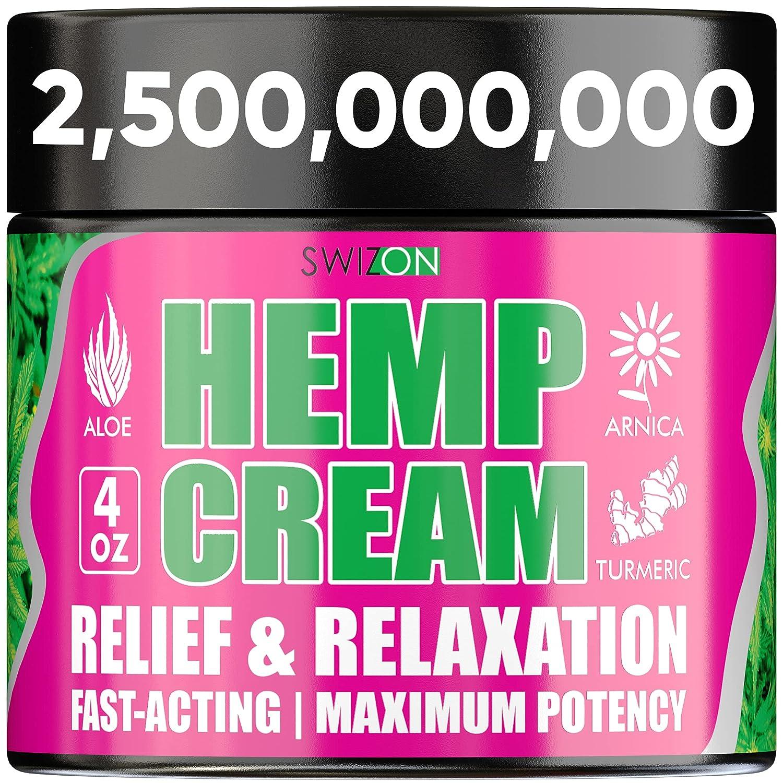 Natural Hemp Cream for Joints, Neck, Back, Elbows, Fingers, Hips