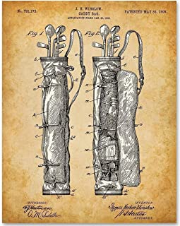 Golf Club Bag - 11x14 Unframed Patent Print - Makes a Great Gift Under $15 for Golfers