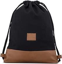 Drawstring Bag Cotton Black / Brown - JOHNNY URBAN Canvas Gymsack Sackpack Gym Sack Backpack with Pocket for Men & Women - Premium Gymsacks from Cotton Canvas & Vegan Leather