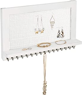 MyGift Vintage Whitewash Wood & Chicken Wire Wall-Mounted Jewelry Organizer & Display Shelf with 16 Necklace Hooks