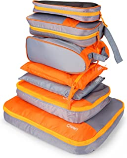 AIZBO 7 Set Waterproof Packing Cubes Travel Luggage Organisers Suitcase Storage Bags-2 Clothing Pouches + 2 Premium Bra Underwear Bag + 1 Digital Accessories Bag + 1 Toiletry Bags+1 Shoes Bag (Yellow)