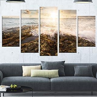 Design Art Sea Waves Impact on Rocky Shore-Beach Glossy Metal Wall Art, 60x32-5 Panels Diamond Shape, White
