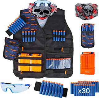 Little Valentine Kids Tactical Vest Kit for Nerf Guns N-Strike Elite Series with Refill Darts, Dart Pouch, Wristband, Face Tube Mask, Quick Reload Clips and Protective Glasses for Boys