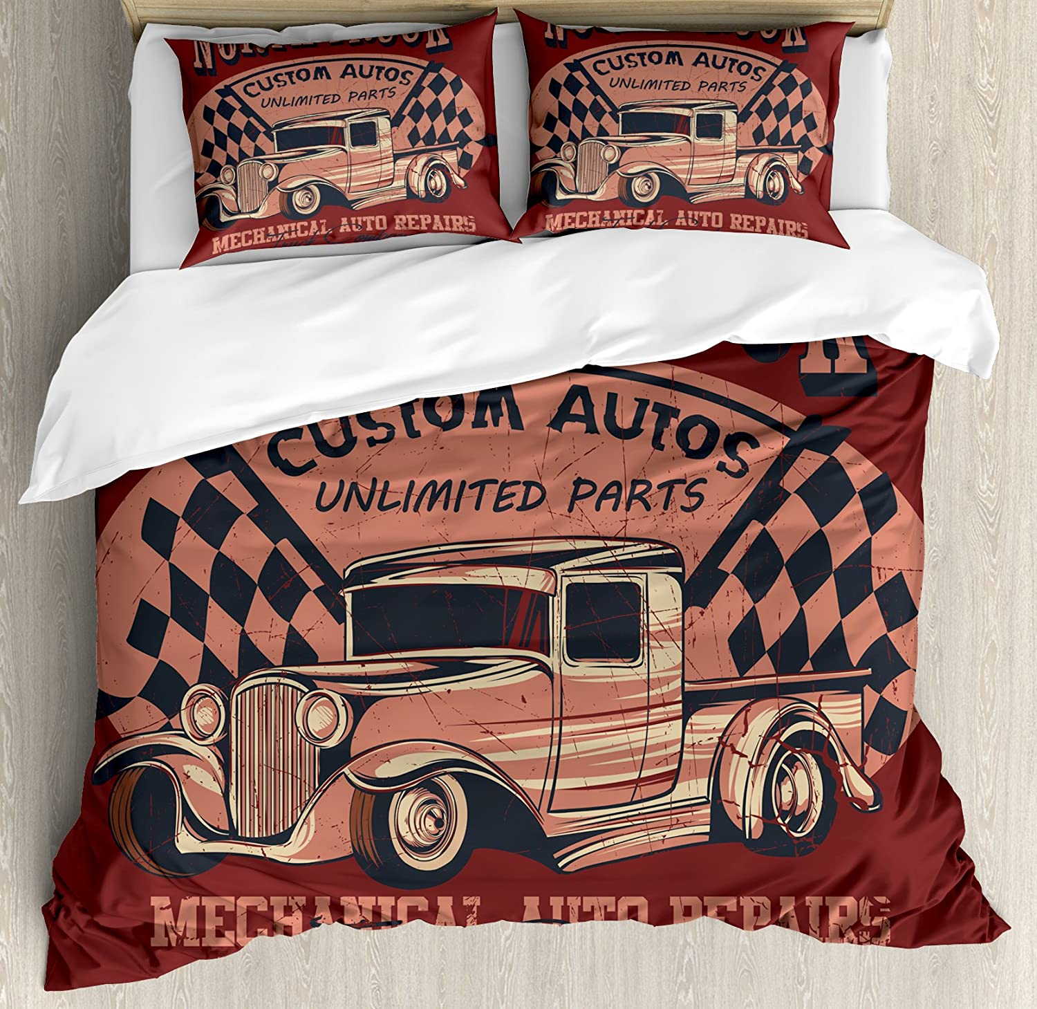 Ambesonne Man Cave Duvet Cover Set, North Truck Mechanical Auto Repairs Custom Autos Vintage Advertising, Decorative 3 Piece Bedding Set with 2 Pillow Shams, King Size, Black Maroon
