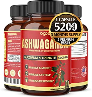Organic Ashwagandha Capsules 5200mg, Highest Potency with Turmeric, Ginger, Black Pepper & Rhodiola |Mood Enhancer, Adrena...