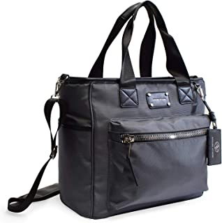"""Adrienne Vittadini 12"""" Laptop Travel Tote with Pockets Great for Travel, College and School (Charcoal)"""