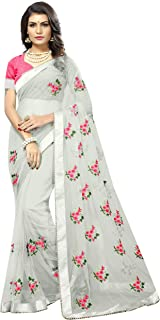 1d2f94c276 SilverStar Women's Embroidery Flower Work White Color Full Net Saree With  Blouse Piece