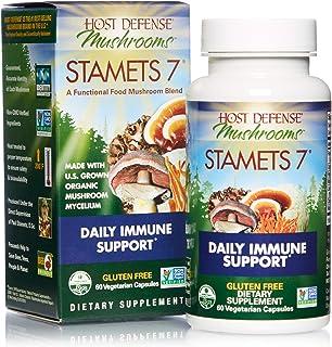 Host Defense, Stamets 7 Capsules, Daily Immune Support, Mushroom Supplement with Lion's Mane, Reishi, Vegan, Organic, 60 C...