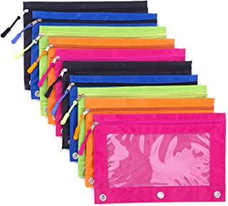 Binder Pencil Pouch with Zipper Pulls, Pencil Case with Rivet Enforced 3 Ring, 10 Pack 5 Colors