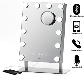 "iHome Hollywood Vanity Mirror PRO with Built in Bluetooth, Voice Control, USB Input and Speaker – 16"" x 12"" LED Makeup Mirror with Adjustable Lights and Detachable 10x Detail Mirror"