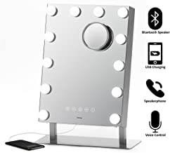 """iHome Hollywood Vanity Mirror PRO with Built in Bluetooth, Voice Control, USB Input and Speaker – 16"""" x 12"""" LED Makeup Mirror with Adjustable Lights and Detachable 10x Detail Mirror"""