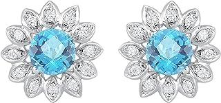 925 الفضة الاسترليني الأزرق توباز مسمار مع جاكيت الماس الأزهار للبنات والنساء أقراط 1 1/3cttw (لون IJ ، I2 I3 وضوح)