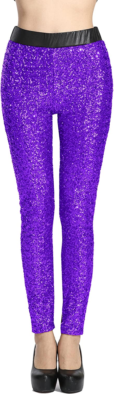 Sosite Women's Shiny Sequins Faux Leather Leggings Pants Stretch Long Trousers