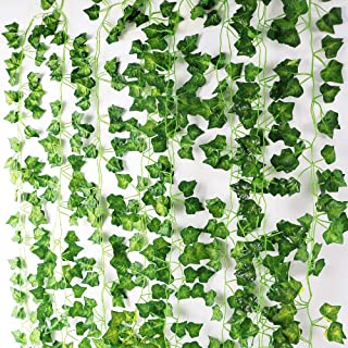Meetu DIY US Artificial Ivy Garland, 12PCS Ivy Garland Fake Vine Green Leaves Fake Plants Hanging Vine Plant for Wedding Party Garden Wall Decoration and Hanging Condole Top Twine Landscape 7 Ft