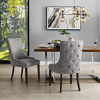 InspiredHome Light Grey Linen Dining Chair - Design: Oscar | Set of 2 | Back Tufted | Nailhead Trim Finish