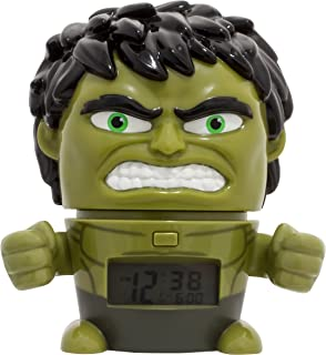 BulbBotz Marvel 2021739 Avengers: Infinity War Hulk Kids Night Light Alarm Clock with Characterised Sound | Green/Black | Plastic | 5.5 inches Tall | LCD Display | boy Girl | Official