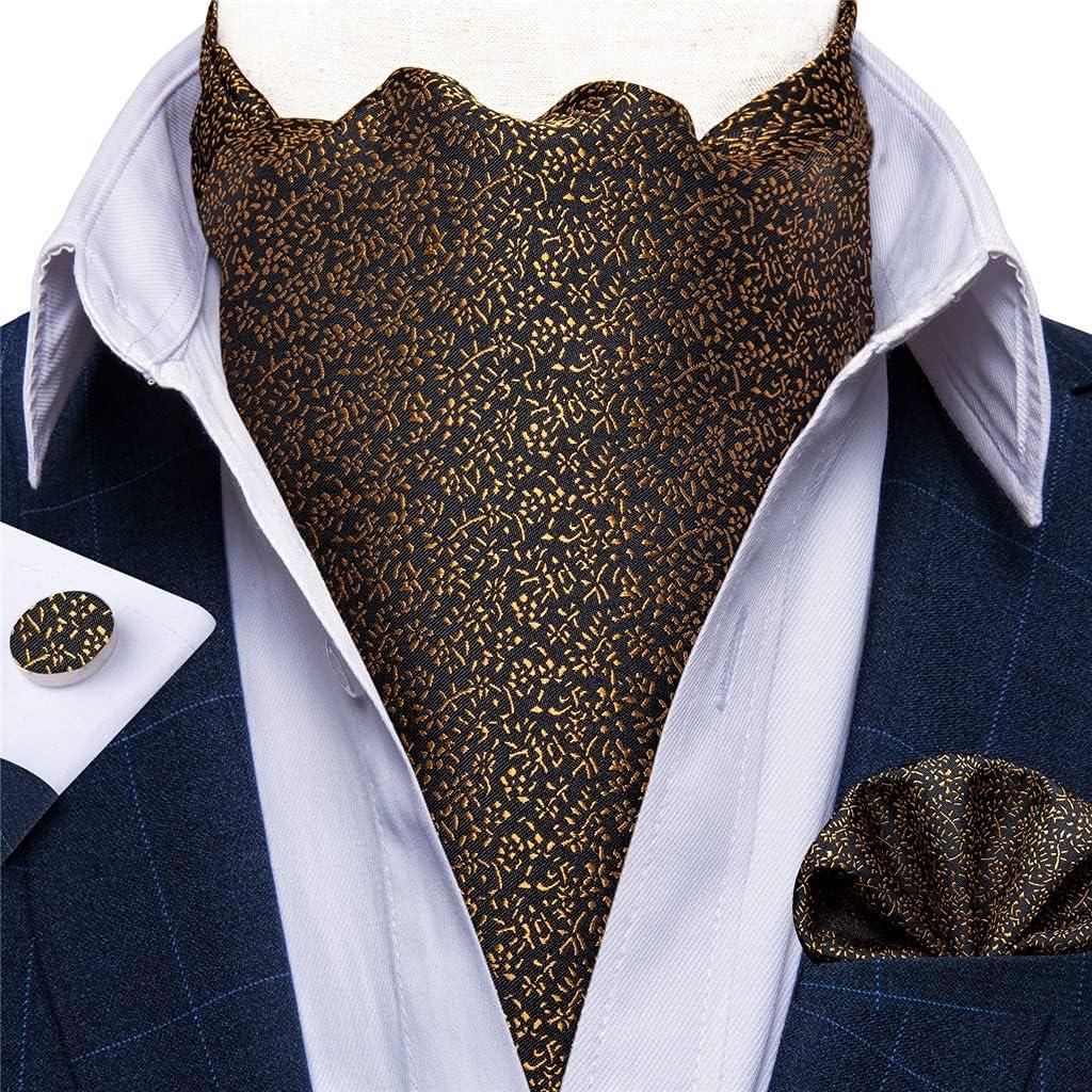 SKREOJF Men Vintage Black Gold Silk Tie Set Man Cravat Ties Handkerchief Sets Floral Nekctie for Wedding Party (Color : A, Size : One size)