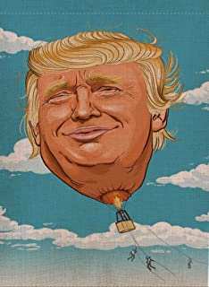 Selmad Home Decorative Donald Trump Garden Flag Burlap Double Sided, Hot Air Balloon Small House Yard Flag Vertical, Novelty Yard Decorations, Vintage Trump 2020 Gift Items Outdoor Flag 12 x 18